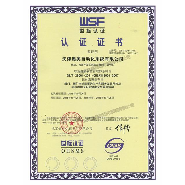 职业健康安全管理体系证书(中文)